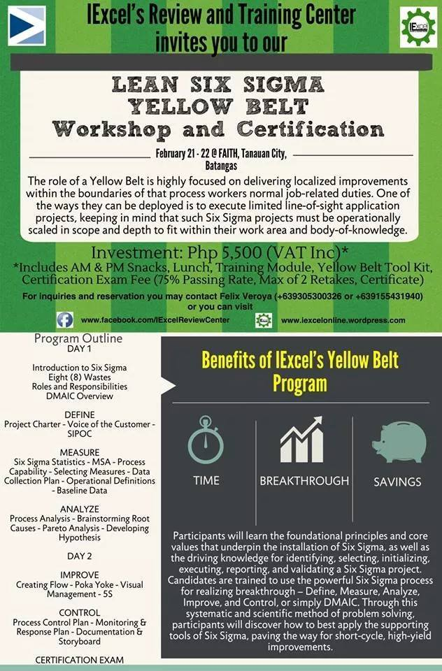 Lean Six Sigma Yellow Belt Certification Iexcel Review And